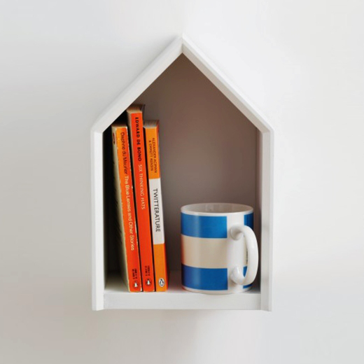 Shelf with mug and books